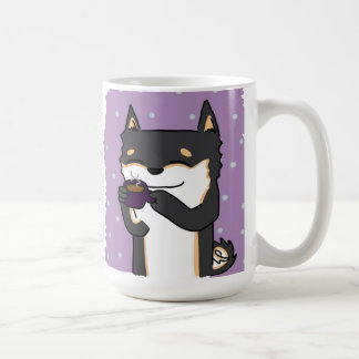 Coffee Time Shiba! - Black and Tan Classic White Coffee Mug