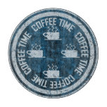 Coffee Time Silver on Blue Cutting Board