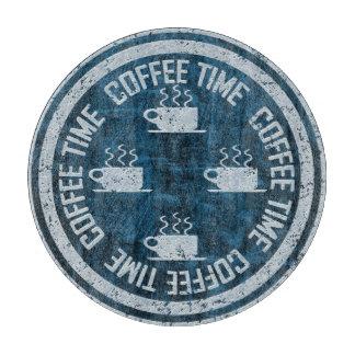 Coffee Time Silver on Blue Cutting Board