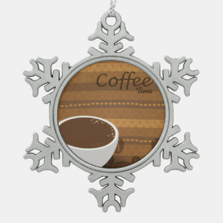 Coffee Time Snowflake Pewter Christmas Ornament