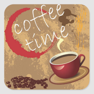 Coffee Time Square Stickers