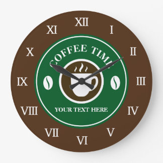 Coffee time wall clock for kitchen, cafe or shop