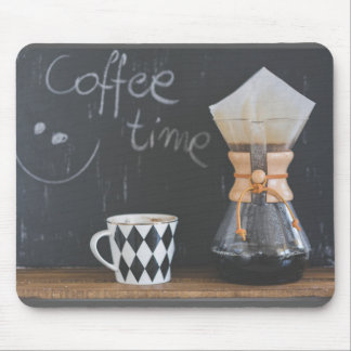 Coffee Time with Cup and Coffee Pot Mouse Pad