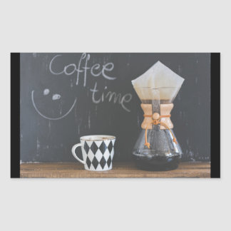Coffee Time with Cup and Coffee Pot Rectangular Sticker