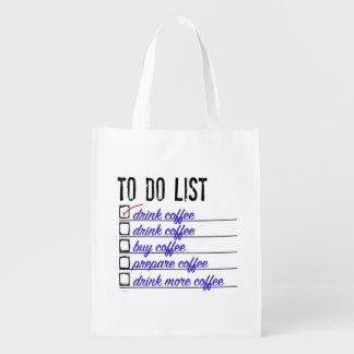 Coffee To-do-list Reusable Bag Reusable Grocery Bag