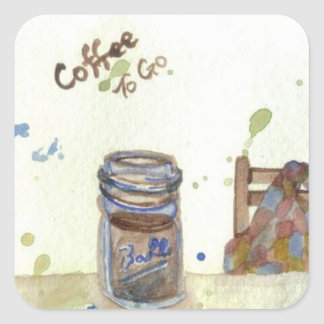 Coffee To Go Folk Art KitchenWare Square Sticker