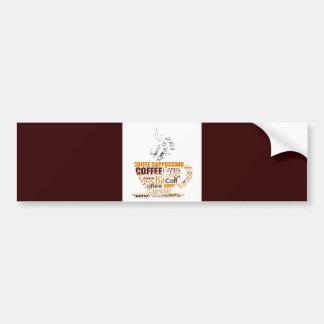 COFFEE TYPOGRAPHY DIGITAL WORDS DRINKS CAPPUCCINO BUMPER STICKER