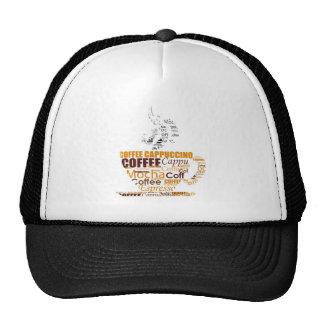 COFFEE TYPOGRAPHY DIGITAL WORDS DRINKS CAPPUCCINO TRUCKER HATS