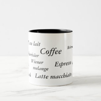 Coffee variations in different countries, mug