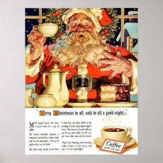 """COFFEE W SANTA"" ADVERTISEMENT CUSTOM POSTER"