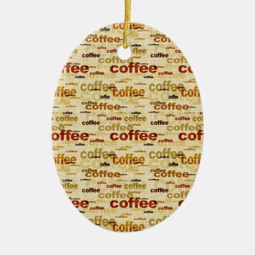 Coffee Wallpaper Double-Sided Oval Ceramic Christmas Ornament