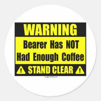coffee warning sign classic round sticker