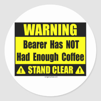coffee warning sign stickers