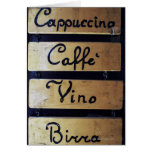 Coffee, Wine and Beer sign, Venice, Italy Card