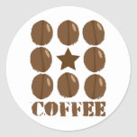 Coffee with beans round stickers