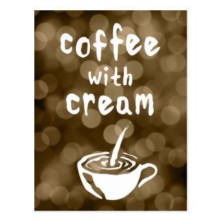 coffee with cream bokeh postcard