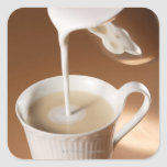 Coffee with milk being poured in stickers