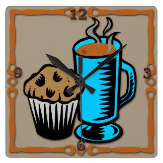 Coffee with Muffin Design Wall Clocks
