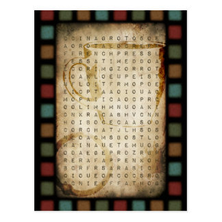 coffee word search postcard