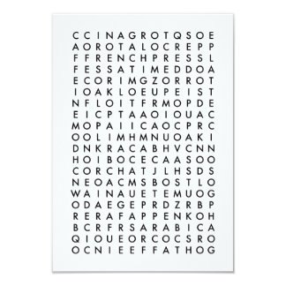 coffee word search puzzle card