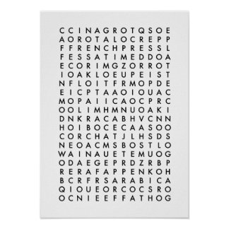 coffee word search puzzle poster