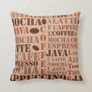 Coffee Words And Beans Pillow