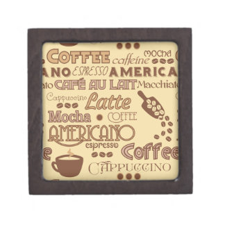 Coffee Words Premium Keepsake Boxes