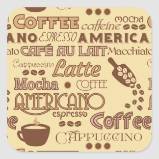 Coffee Words Square Sticker