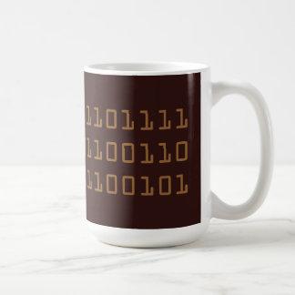 Coffee written in binary code mug, brown coffee mug
