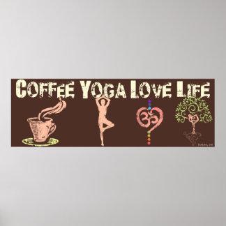 "Coffee Yoga Love Life 36"" Long Poster (Brown)"