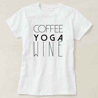 Coffee Yoga Wine | Chic Typography T-Shirt