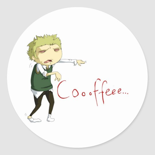 Coffee zombie classic round sticker