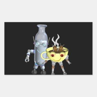 CoffeeBot y MilkBot por Valxart Pegatina Rectangular