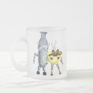 CoffeeBot y MilkBot por Valxart Taza De Café Esmerilada