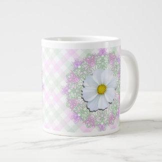 CoffeeJumbo Mug - White Cosmos on Lace & Lattice