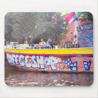 Coffeeshop on an old Dutch barge, Amsterdam Mouse Pad