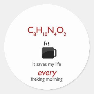 Coffein - ahorra mi vida cada mornin freking etiquetas redondas