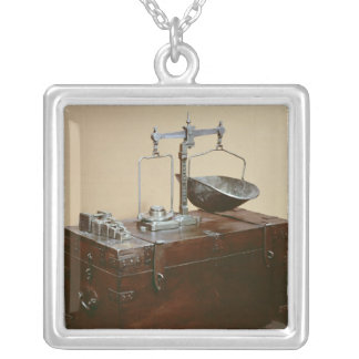 Coffer and scales silver plated necklace