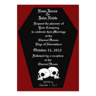 Coffin Ebony II (Red) Wedding Invitation