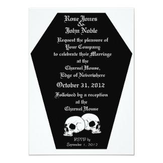 Coffin Ebony II (White) Wedding Invitation