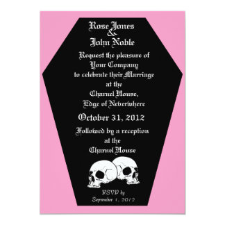 Coffin Ebony (Pink) Wedding Invitation