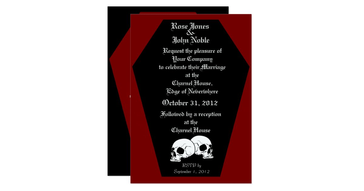Coffin Ebony Red Wedding Invitation – Red Wedding Invites