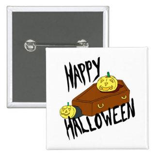 Coffin yellow pumpkin happy halloween pin
