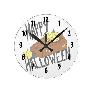 Coffin yellow pumpkin happy halloween round clock