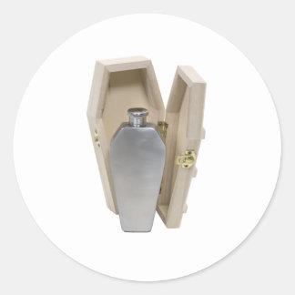 CoffinWoodenFlask070109 Pegatina Redonda