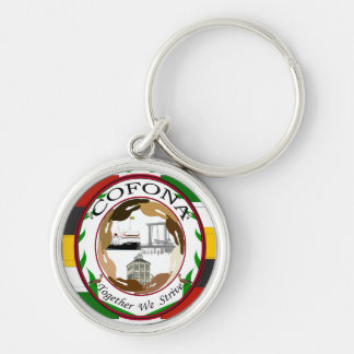 Cofona Inc. Guyana Flag Colors -Premium Round Keyc Silver-Colored Round Keychain