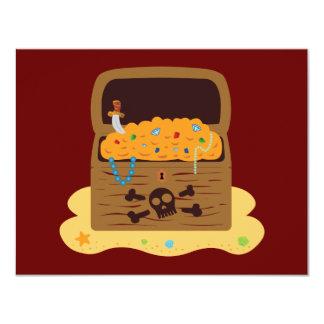 """Cofre del tesoro del botín del pirata invitación 4.25"""" x 5.5"""""""