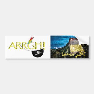 Cofre del tesoro del oro en las rocas etiqueta de parachoque