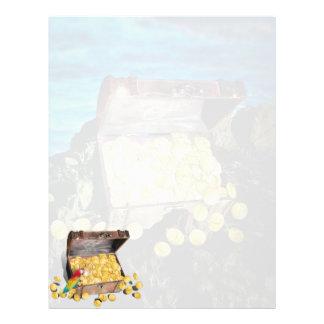Cofre del tesoro del oro en las rocas tarjetas publicitarias