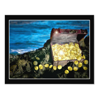 """Cofre del tesoro del oro en las rocas invitación 4.25"""" x 5.5"""""""